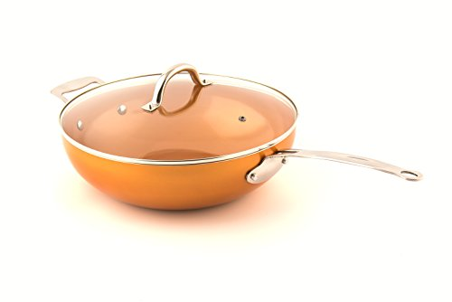 MasterPan Copper tone 12inch Ceramic Nonstick Wok with Lid