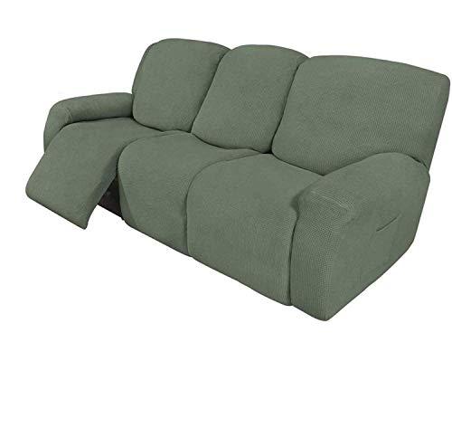 WLVG 8-teilige Liege-Sofabezüge Sofa-Stretch-Liege-Sofabezüge für 3-Kissen-Sofa-Schonbezüge Möbelbezüge mit elastischem Boden, dick, weich waschbar (Dark Cyan)