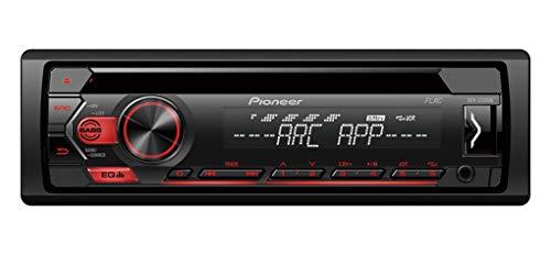 Pioneer DEH-S120UB , 1DIN RDS-Autoradio mit roter Tastenbeleuchtung , Display weiß ,Android-Unterstützung , 5-Band Equalizer , CD , MP3 , USB , AUX-Eingang , ARC App