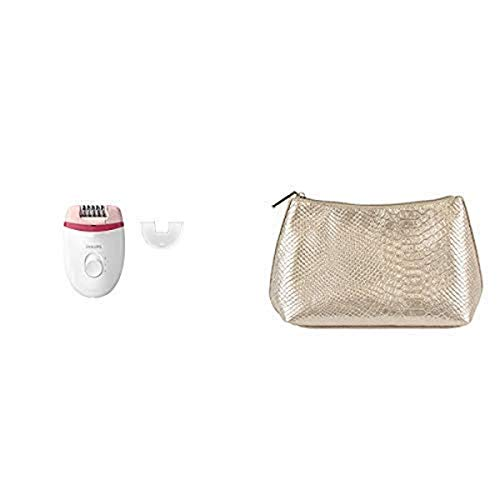 Philips Satinelle Essential Corded Epilator, BRE235/04 with Cosmetic Pouch, Gold Snake, 0.32 Pound