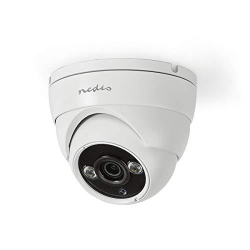 Nedis Cámara de Seguridad CCTV Nedis - Cámara de Seguridad CCTV - Cúpula - HD 720p - para Uso DVR HD Analógico - Visión Nocturna - Blanca Negro/Blanco 0.50 m