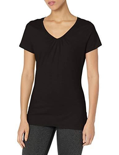 Hanes Women's Shirred V-Neck T-Shirt, Black, X-Large