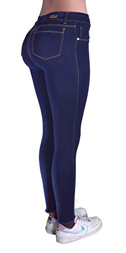 Deyleid jeans Colombian Jeans for Women Butt Lift Jeans Colombianos Levanta cola (Dark Blue, 12)