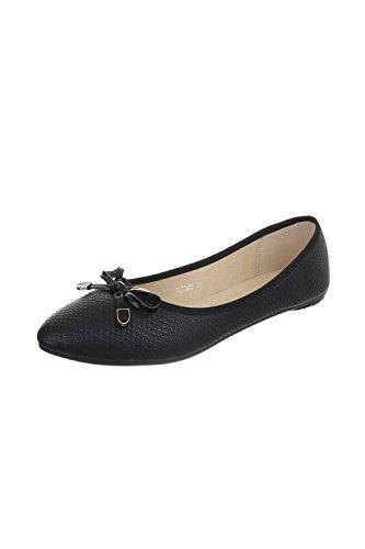 Edelnice Trachtenmode Bequeme Damen Ballerinas in schwarz, Gold, beige oder weiß (38, schwarz)