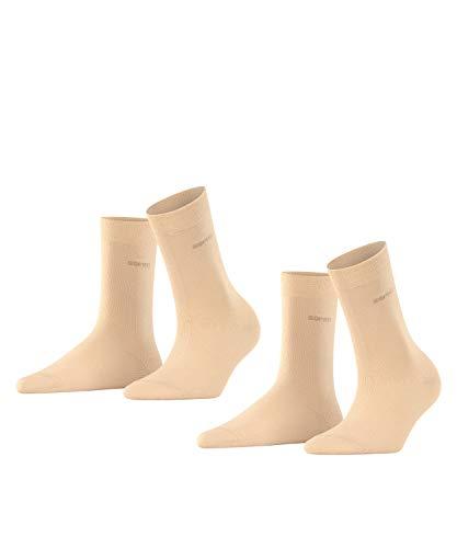 ESPRIT Damen Basic Easy 2-Pack W SO Socken, Blickdicht, Elfenbein (Cream 4011), 39-42 (2er Pack)