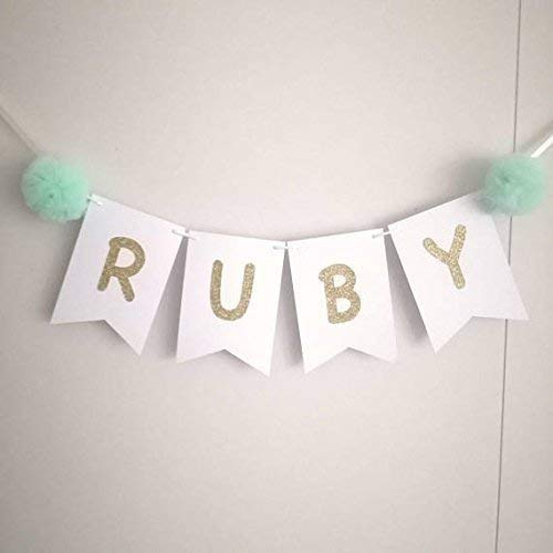 Name banner. Highchair banner. Baby room decor. Nursery. Name sign. Baby shower bunting. Tulle pompom. Luxurious baby shower decorations. Garland