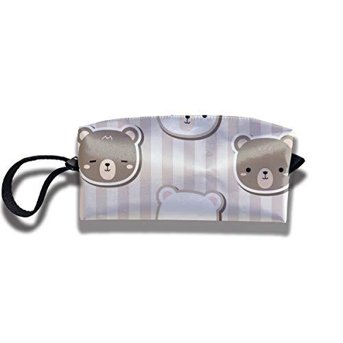 Bbhappiness Pouch Handbag Cosmetics Bag Case Purse Travel & Home Portable Make-up Receive Bag Bear Doodle Stripe