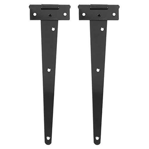 Yarnow Bisagras de 2 Piezas T Bisagras de Servicio Pesado Bisagras de Correa para Puerta de Cobertizo de Almacenamiento Puertas de Granero 10 Pulgadas (Negro)