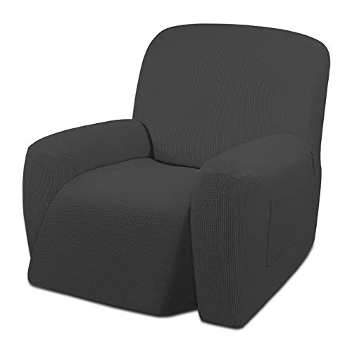 Easy-Going Oversized Recliner Stretch Sofa Slipcover Sofa Cover 1 Piece Furniture Protector Couch Soft with Elastic Bottom Kids,Polyester Spandex Jacquard Small Checks(Oversize Recliner,Dark Gray)