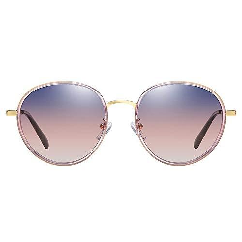 CEyyPD Gafas de sol polarizadas para mujer, montura redonda, color morado, estilo retro, protección UV400, lentes degradadas, color azul y rojo