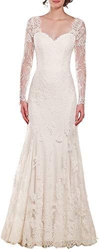 CGown Meerjungfrauenkleid mit Herzausschnitt, lange Ärmel, rückenfrei, Brautkleid mit Zug, Spitze Gr. 22 W, elfenbeinfarben