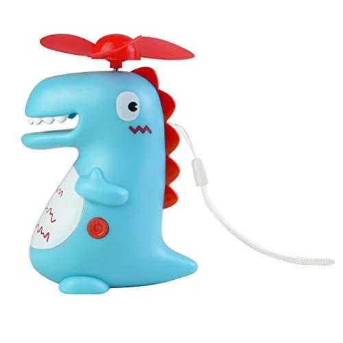 IMIKEYA 1Pc Dinosaur Mini Fan Portable Handheld Fan Lanyard Cooling Fan USB Rechargeable Fan for Home Office Travel (Blue)