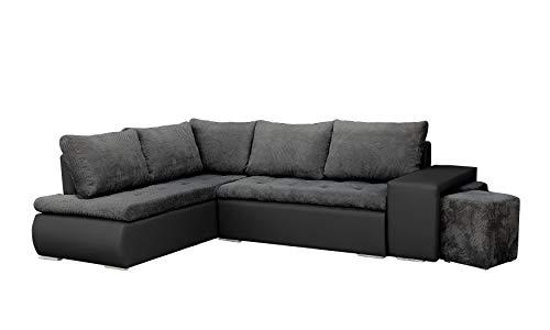 mb-moebel Ecksofa mit Zwei Hocker Sofa Eckcouch Couch mit Schlaffunktion und Bettkasten Ottomane L-Form Schlafsofa Bettsofa Polstergarnitur - BELGRAD...