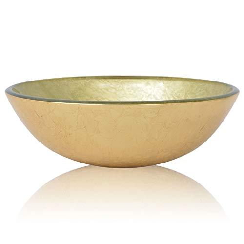 vidaXL 142233 Waschbecken Hartglas 42cm Gold Aufsatzbecken Waschschale Waschtisch, Glas