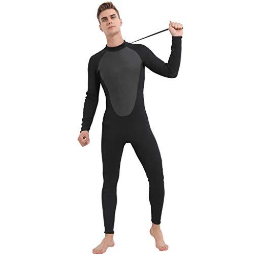 LOPILY Herren Surfbekleidung Wetsuit 3MM Ganzkörperanzug Schwimmen Surfen Tauchen Sport Badeanzug Neoprenanzug UV Schutz Sonnencreme Taucheranzug(Schwarz,XL)