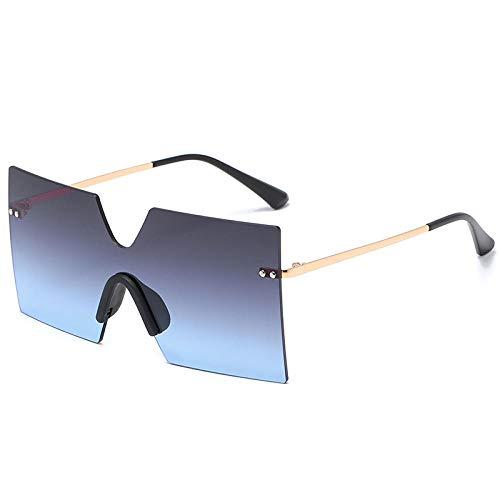 DLSM Modificadas Gafas de Sol cuadradas de Gran tamaño Mujeres sin llanta Grandes Punk Vintage Gris Gris Tonos UV400 Retro Alloy Flaads Top Gafas de Sol-Gris Azul