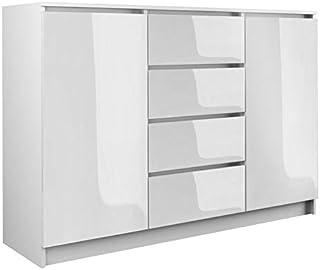 Megaastore Kommode 4 Schubladen 2 Schränke 120cm Klamotenschrank Sideboard Mehrzweckschrank, Schlafzimmer, Wohnzimmerschrank, Gästezimmer | Hochglanz Weiss 98(H) x 120(B) x 40(T)