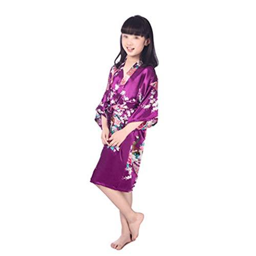 AXIANQI kinderen pauw bedrukt nachthemd zomer dunne Japanse lange gebreide jas lange gebreide jas thuis kleding A