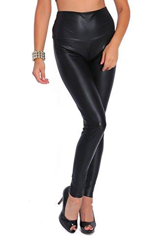 FUTURO FASHION - Lange Leggings mit hohem Bund - sexy Lederimitat - matt - Mattschwarz - 50