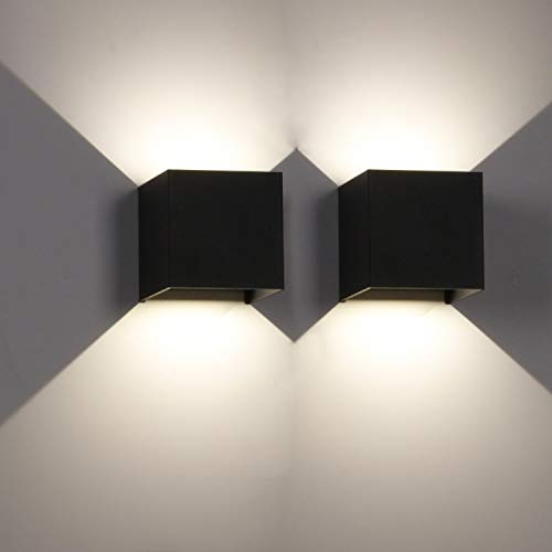 LEDMO 2 Piezas Apliques pared led 4000K Luz blanca natural 12W Aplique de pared exterior negro Impermeable IP65 Ángulo ajustable Lámpara de pared interior
