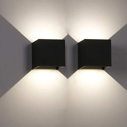 ledmo 12W Applique da parete interno 2 pezzi LED Lampada da parete 4000K Luce bianca naturale applique da esterno IP65 impermeabile angolo del fascio regolabile Lampada da muro applique cubo moderno