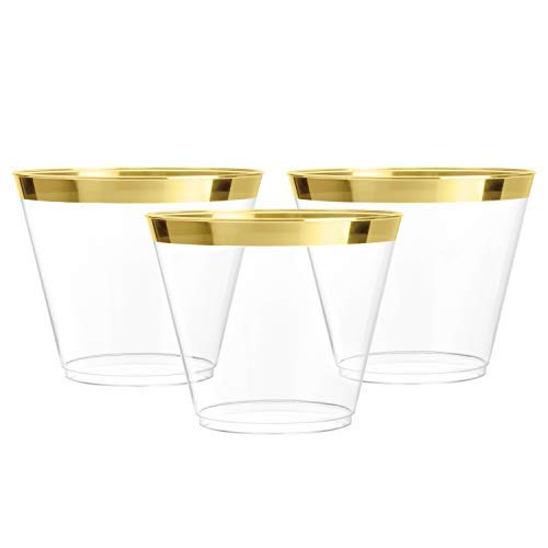 100 Gold Plastic Cups   9 oz   Hard Disposable Cups   Plastic Wine Cups   Plastic Cocktail Glasses   Plastic Drinking Cups   Bulk Party Cups   Wedding Tumblers   Clear Plastic Cups With Gold Rim