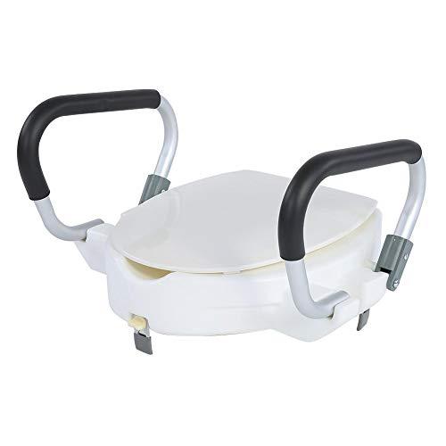 Toilettensitzerhöhung mit Deckel, Sitzerhöhung für WC und Bad mit Alzawater-Armlehnen, Tragkraft 150 kg, Sitzbreite: 40 cm