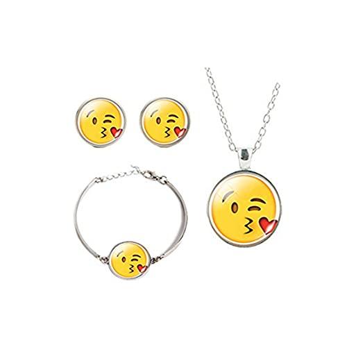 Kiss Emoji - Pulsera de pendientes con diseño de caras, besos, joyas de tres piezas