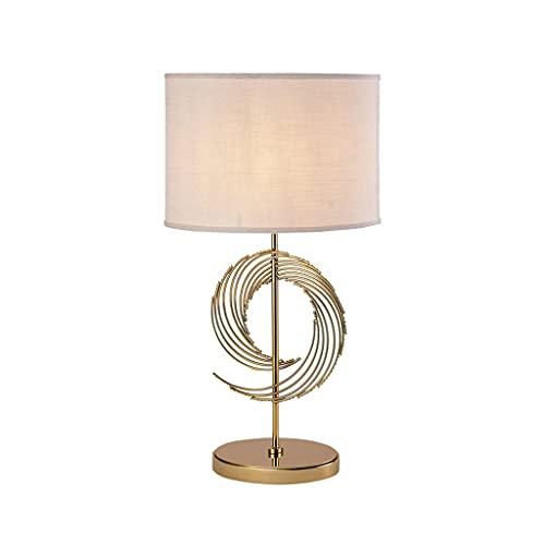ACGTH American Modern Luxury Chalet Gold Color Mesa de Escritorio Lámpara de Mesa Nordic Retro Dormitorio Cama Sala de Estar Estudio Luz de Lectura (Color : Remote Switch)