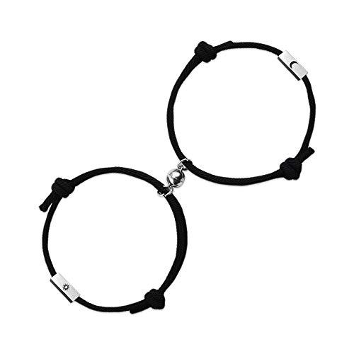 CheersLife Pulseras magnéticas de pareja sol y luna para novio novia amor amistad mejor amiga hermana atracción mutua cuerda trenzada negro