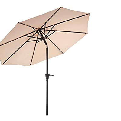 Le Conte 9ft Patio Umbrella Outdoor Market Umbrella Table Umbrellas with Push Button Tilt and Crank (Brick Red)