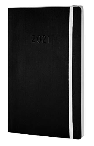 Chronoplan 50921 Buchkalender Kalendarium 2021, A5 Softcover, Wochenplaner (135x210mm, 1 Woche auf 2 Seiten), schwarz