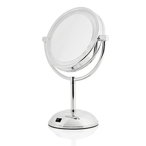 Lumaland Kosmetikspiegel mit LED Beleuchtung Standspiegel 5fach Vergrößerung