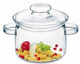 Simax Glassware 2 Quart Glass Pot   With Lid, Heat Resistant Handles, Doubles as Serving Dish, Made from Oven, Microwave, Stove and Dishwasher Safe Borosilicate Glass