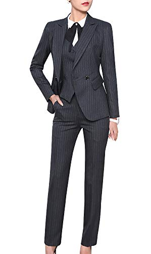 Women's Three Pieces Office Lady Blazer Business Suit Set Women Suits for Work Skirt/Pant,Vest and Jacket (Grey, M)