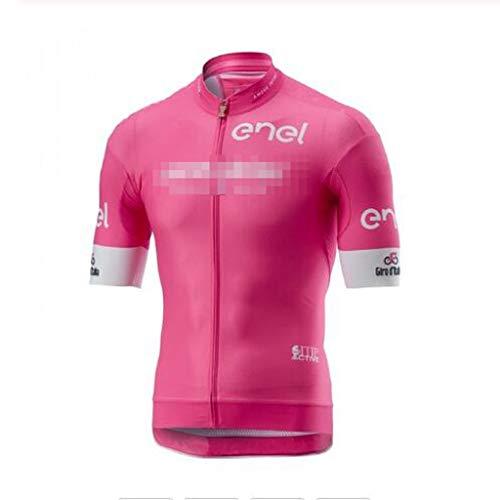 ZWW Uomo Rosa PRO Team Estate Manica Corta Ciclismo Maglia Maglie di Ciclismo su Strada Abbigliamento Top Traspirante e ad Asciugatura Rapida (Color : Pink, Dimensione : M)