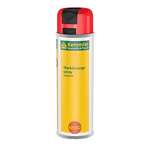Kemmler Markierungsspray MSR2 Leuchtrot - hochdeckender intensiver Leuchtkraft für dauerhafte & belastbare Markierungen 360° Ventil mit Einhand-Sicherheitskappe Schnelltrocknend & Kratzfest 500 ml