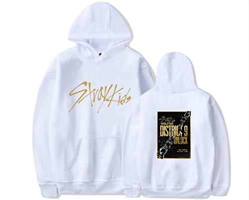 Kpop Straykids District 9 Unlock Unisexe Manches Longues Sweats à Capuche Imprimé Sweat-Shirt Pullover Outwear Minho Jisung Woojin Changbin Felix (4,XXL)