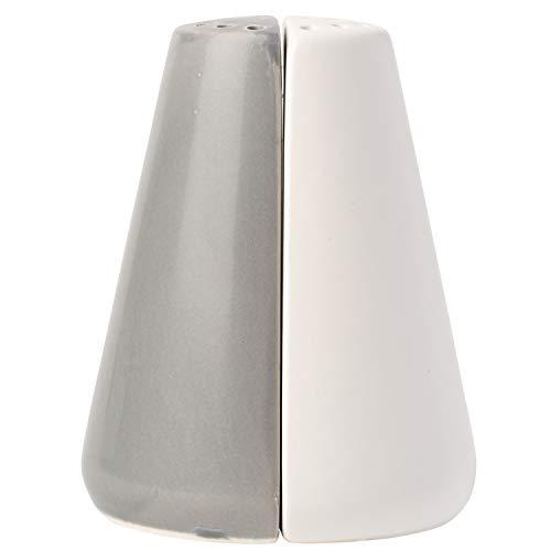 Comfify Modern Salz & Pfeffer Streuer Bezauberndes dekoratives Mason Jar Dekor für Vintage-, Rustikal- und Shabby Chic-Liebhaber - Zeitgenössisches Mühlenset für modernes Küchendekor- Weiß & Grau Set