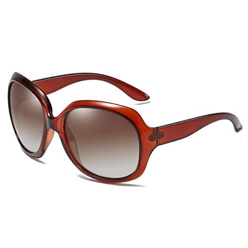 GUANGE Gafas de sol para mujer, de gran tamaño, polarizadas, protección UV400, gafas de sol para mujer, de gran tamaño, de moda, para conducir, regalos para damas, color marrón