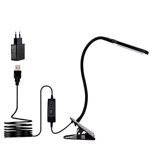 LED Klemmleuchte als Leselampe, Schminklicht, CeSunlight Schreibtischlampe, 3 Farbtemperaturen, 2 Helligkeiten, Klemmlampe USB, LED Lampe dimmbar, Tageslicht, 2 m USB-Kabel und Netzteil (schwarz)
