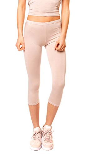 Easy Young Fashion Damen Basic Sommer Jersey Capri 3/4 Leggings Leggins Unterzieh Hose Kurz Baumwolle Stretch Einfarbig Uni One Size Beige