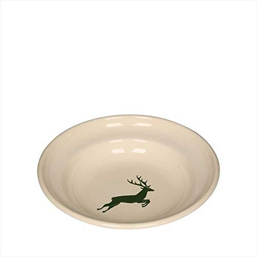 Riess, 0306-072, Teller tief 22, COUNTRY - HIRSCH GRÜN, Durchmesser 22 cm, Höhe 4,2cm, Emaille, beige mit grünem Hirsch