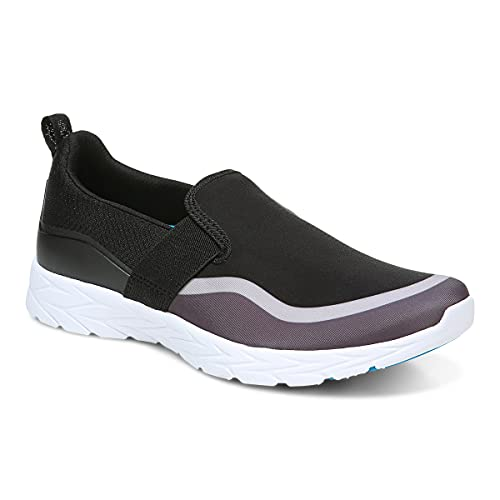 Vionic Women's Brisk Nalia Slip-on Walking Shoes - Ladies Supportive Active Sneakers That Include Three-Zone Comfort with Orthotic Insole Arch Support, Medium and Wide Fit Black and Grey 10 Wide US
