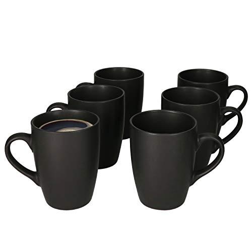 MamboCat Lampart Nero 6er Kaffeebecher-Set schwarz I Steingut-Tassen matt schwarz im modernen Ethno-Stil I Kaffeetassen-Set für 6 Pers. - Kaffeepott groß mit Henkel I Kaffee-Tasse schwarz 6 Stück