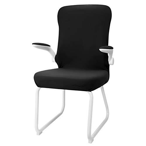 ANSUG Funda de Silla de Oficina, Modernas Estilo Fundas de Silla de computadora Elástica Funda de sillón Universal para Silla Giratoria Silla de Ordenador - Negro, L