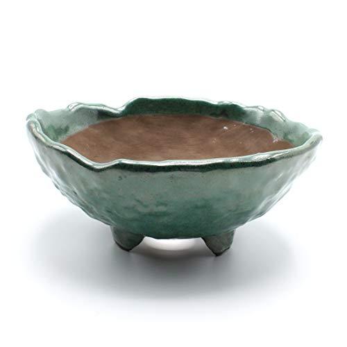 Bonsai Wild Grass Ceramic Pot Round Shape Rocky Skin Glazed (5.9', Oribe-Yu)