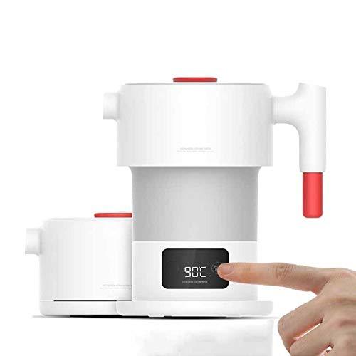 Nieuwe inklapbare elektrische waterkoker, roestvrij staal, wit, digitaal touchscreen, inklapbaar lichaam, temperatuurcontrole, geschikt voor thuis in de open lucht.