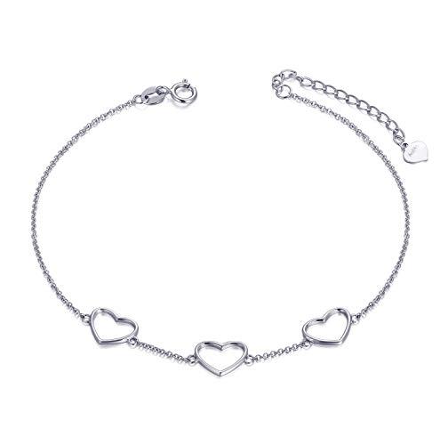 "SISGEM 14k White Gold Heart Anklet for Women, Real Gold Love Ankle Bracelet Foot Jewelry for Her, 8.4""-10"""