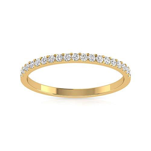 Anillo de aniversario de boda con diamante certificado IGI de 0,23 quilates, Pave IJ-SI Diamond media eternidad, anillo de novia para mujer, promesa de cumpleaños, 18K Oro rosa, Size:EU 68